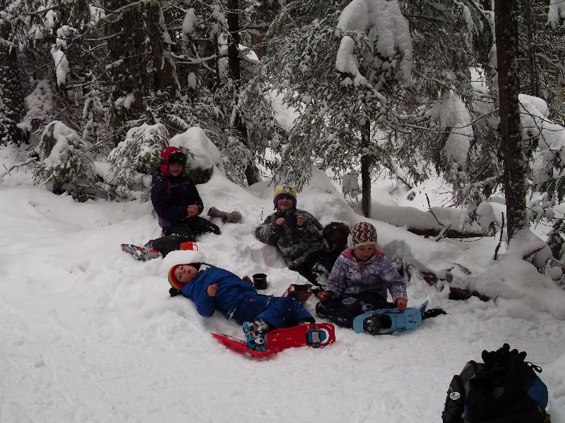 Happy snow shoers